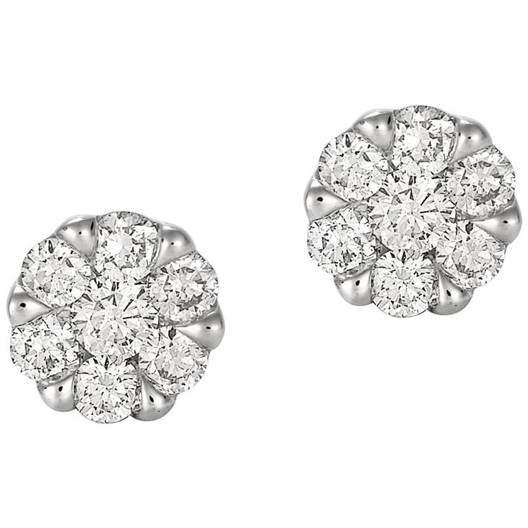 Giulians Large 18K Diamond Set Cluster Stud Earrings For Sale