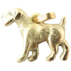 14 Karat Yellow Gold Airedale Dog Pendant Charm