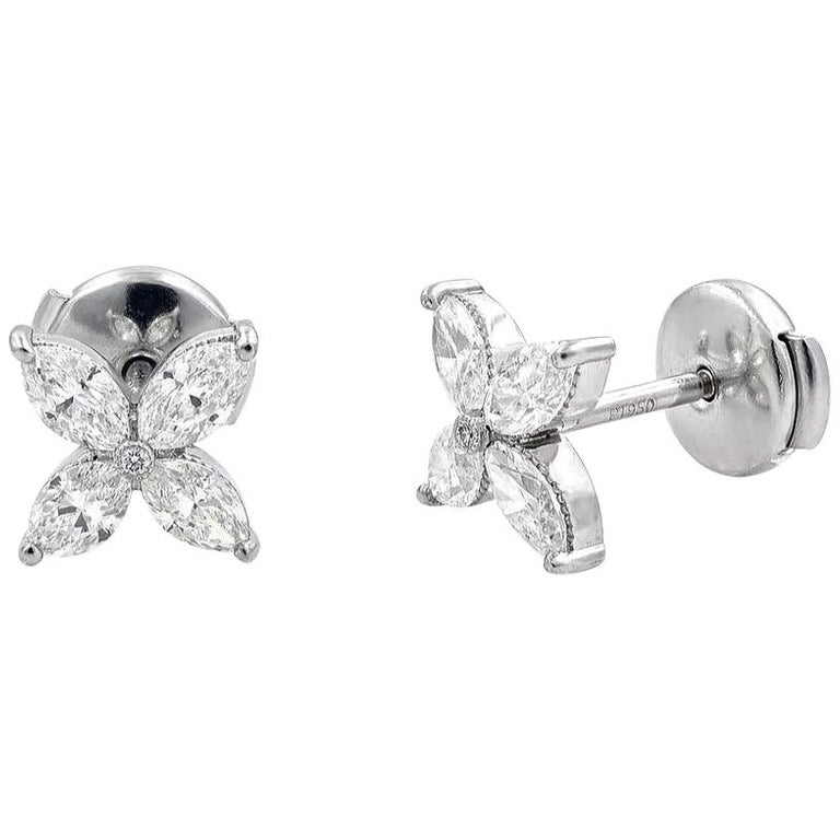 Handmade Diamond Stud Earrings Marquise Cuts In Platinum 1 22 Carat For
