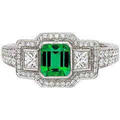 Green Emerald Diamond Engagement Ring Handmade Platinum
