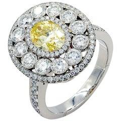 Light Fancy Yellow Oval Diamond Engagement Ring Handmade Platinum 18 Karat