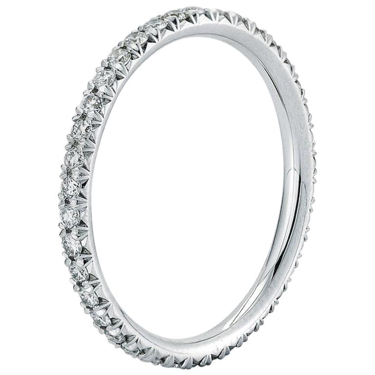 e417a90cc French Pave Diamond Eternity Band 0.45 Carat 18 Karat White Gold For Sale