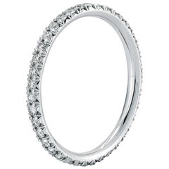 French Pave Diamond Eternity Band 0.45 Carat 18 Karat White Gold