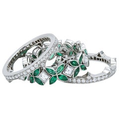 Green Emerald and Diamond Eternity Stackable Set of 3 Ring Platinum