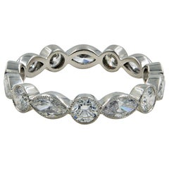 1.75 Carat Handmade Platinum Round and Marquise Diamonds Eternity Band