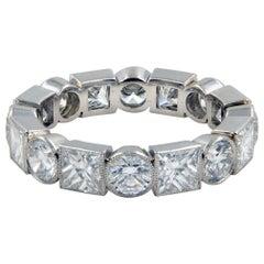 Handmade 4.00 Carat Round Princess Cut Diamond Eternity Band in Platinum