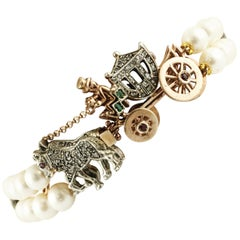 Diamonds Rubies Emeralds Pearls Rose Gold and Silver Carriage Beaded Bracelet