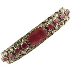 3.63 Carat Diamonds, 17.97 Carat Rubies, Rose Gold and Silver Retrò Bracelet
