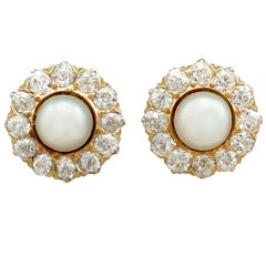 Victorian Pearl Diamond and Yellow Gold Stud Earrings
