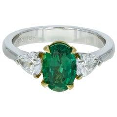 Three-Stone Green Emerald Diamond Engagement Ring Platinum 18 Karat Yellow