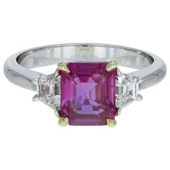 Pink Sapphire 2.61 Carat and Diamond Three-Stone Ring 18 Karat White Gold