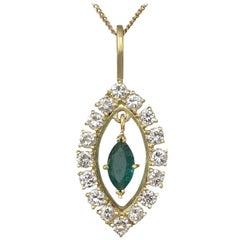Vintage Emerald Diamond Yellow Gold Pendant Circa 1990