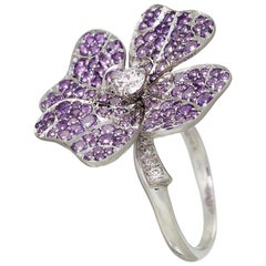 18k White Gold Purple Amethyst White Diamonds Ring AENEA Jewellery