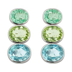 Statement Earrings with African Paraiba Tourmalines of 28.13 Carat