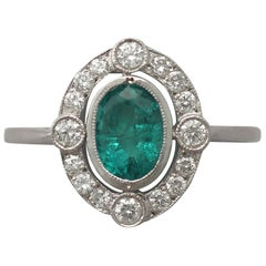 Vintage Emerald and Diamond White Gold Cocktail Ring Circa 1940