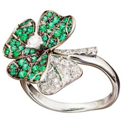 18 Karat Platinum Palladium Diamonds Emerald Ring Aenea Jewellery