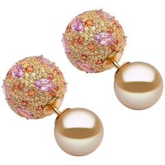 Yoko London Golden South Sea Pearl, Pink & Orange Sapphire Earrings, in 18K Gold