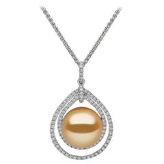 Yoko London Golden South Sea Pearl and Diamond Necklace in 18 Karat White Gold