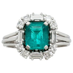 Vintage 1.43 Carat Emerald and Diamond Platinum Cocktail Ring Circa 1970