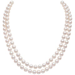 Yoko London Akoya Pearl and Diamond Two-Row Necklace in 18 Karat White Gold