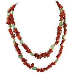 Red Corals, Turquoise Stones, Rope / Multi-Strand Necklace
