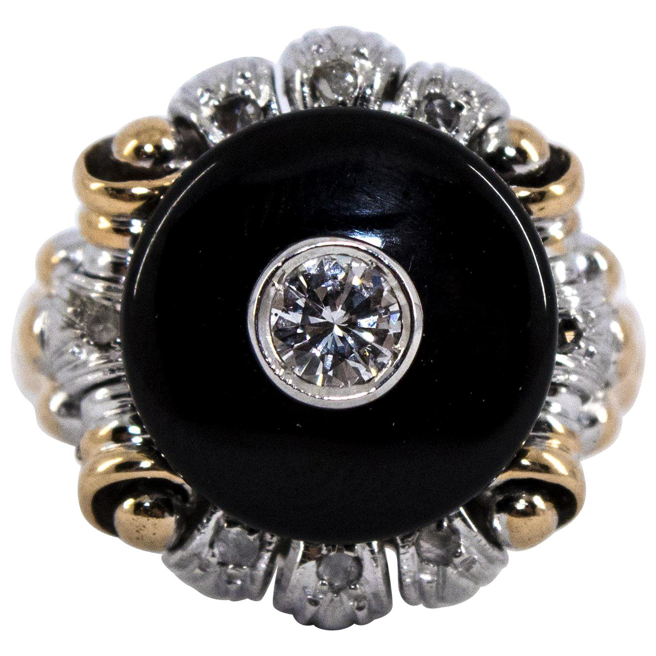 Renaissance Style 0.20 Carat White Diamond Onyx Yellow Gold Cocktail Ring