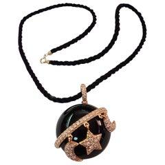 Dada Arrigoni Rose Gold Diamond Onyx Necklace