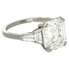 Hancocks GIA Certified 5.08 Carat Asscher Cut Diamond Ring
