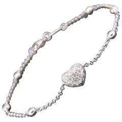 Chopard Heart Multi Diamond White Gold Chain Bracelet