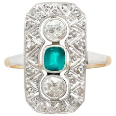 Antique Art Deco Emerald Diamond and Gold Cocktail Ring