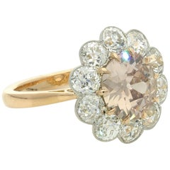 Hancocks Diamond and Fancy Pinkish Brown 18 Carat Rose Gold Cluster Ring