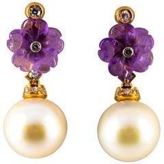 0.20 Carat White Diamond Amethyst Pearl Yellow Gold Drop Earrings