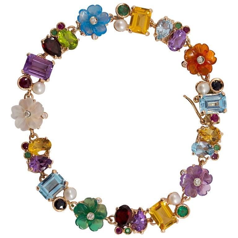 Emerald Ruby Sapphire Pearl Diamond Yellow Gold Flowers Bracelet For Sale