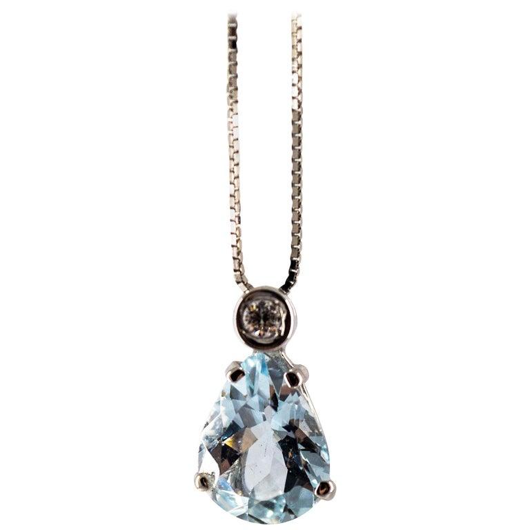 Art Deco Style 0.03 Carat Diamond 1.20 Carat Aquamarine White Gold Necklace For Sale