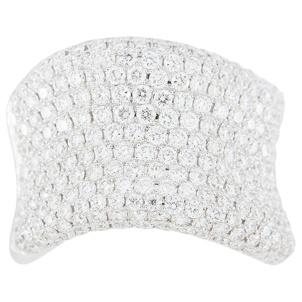 Alex Jona White Diamond White Gold Band Wave Ring