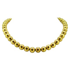 Retro 1940s Yellow Gold Beads Necklace