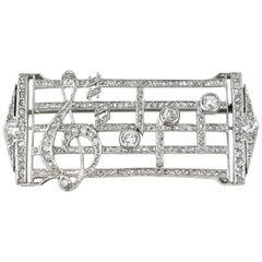 Edwardian Platinum Diamond Music Score Brooch