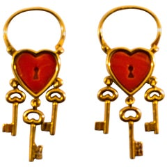 Modern Mediterranean Red Coral Yellow Gold Lever-Back Dangle Earrings