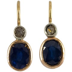 2.10 Carat Blue Sapphire White Rose Cut Diamond Yellow Gold Lever-Back Earrings