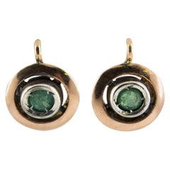 0.20 Carat Emerald Yellow Gold Sterling Silver Dangle Lever-Back Earrings