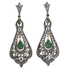 2.20 Carat Emerald 0.50 Carat White Diamond Yellow Gold Lever-Back Earrings