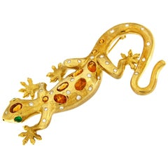 Valentin Magro Gold Salamander Brooch with Citrines and Diamonds