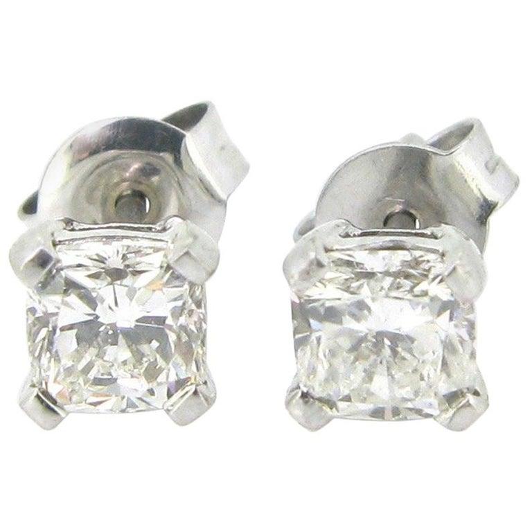 Radiant Cut Diamond White Gold Earrings Studs