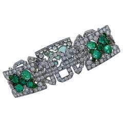 Art Deco 25 Carat Diamond and Emerald Bracelet