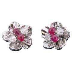 Retro Cabochon Rubies and Diamonds White Gold Flowers Earrings Clips