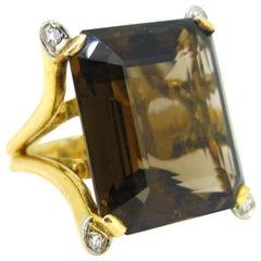 Vintage 1960s Smoky Quartz Cocktail Yellow Gold Platinum Ring