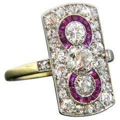 Edwardian Three-Stone Diamonds Rubies Yellow Gold Platinum Target Ring