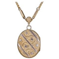 Antique Victorian Gold-Plated Locket Chain Necklace, circa 1900