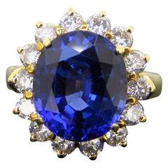 Tanzanite Diamonds Daisy Yellow Gold Cluster Cocktail Ring