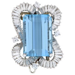 Boucheron Paris 32.5 Carat Rectangular Cut Aquamarine Diamond Platinum Brooch